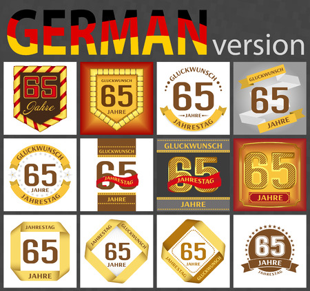 German set of number sixty-five years (65 years) celebration design. Anniversary number template elements for your birthday party. Translated from the German - congratulation, years, anniversary Illustration