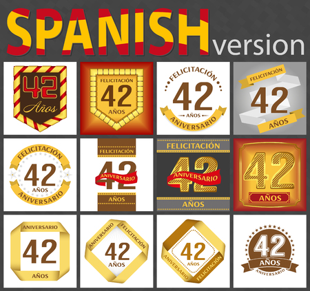 Spanish set of number forty-two years (42 years) celebration design. Anniversary number template elements for your birthday party. Translated from the German - congratulation, years, anniversary