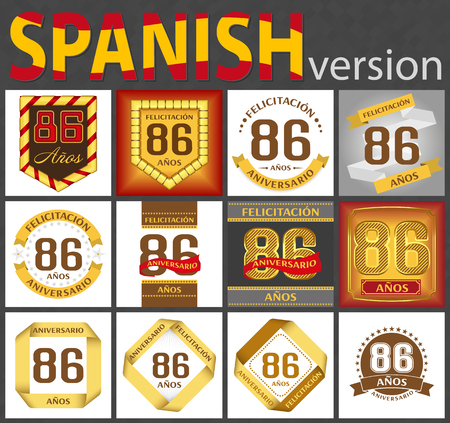 Spanish set of number eighty-six years (86 years) celebration design. Anniversary number template elements for your birthday party. Translated from the German - congratulation, years, anniversary Ilustração