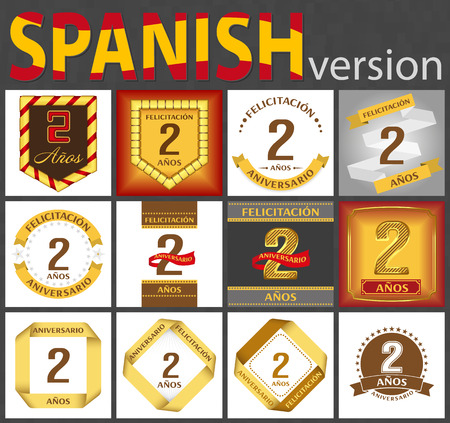 Spanish set of number two years (2 years) celebration design. Anniversary number template elements for your birthday party. Translated from the German - congratulation, years, anniversary