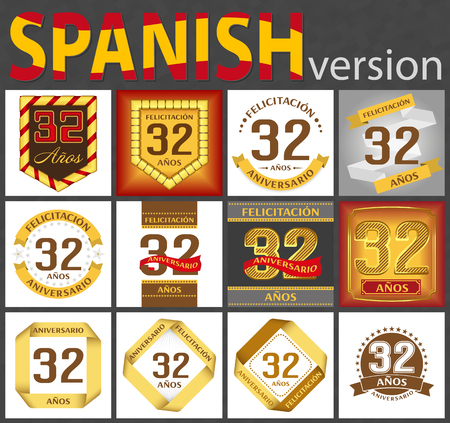 Spanish set of number thirty-two years (32 years) celebration design. Anniversary number template elements for your birthday party. Translated from the German - congratulation, years, anniversary 向量圖像