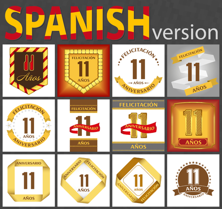 Spanish set of number eleven years (11 years) celebration design. Anniversary number template elements for your birthday party. Translated from the German - congratulation, years, anniversary