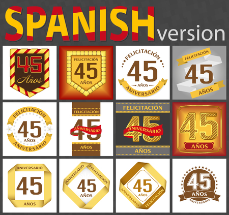 Spanish set of number forty-five years (45 years) celebration design. Anniversary number template elements for your birthday party. Translated from the German - congratulation, years, anniversary Ilustração