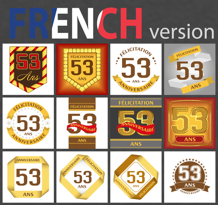 French set of number fifty-three years (53 years) celebration design. Anniversary number template elements for your birthday party. Translated from the French - congratulation, years, anniversary