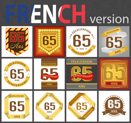 French set of number sixty-five years (65 years) celebration design. Anniversary number template elements for your birthday party. Translated from the French - congratulation, years, anniversary Illustration