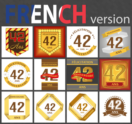 French set of number forty-two years (42 years) celebration design. Anniversary number template elements for your birthday party. Translated from the French - congratulation, years, anniversary