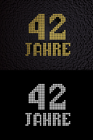 German golden number forty-two years (number 42 years) dotted font, top view, with dark zero and one background. With alpha channel. 3D illustration