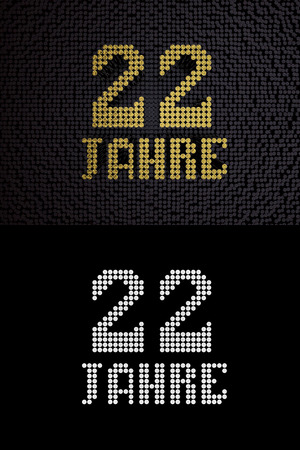 German golden number twenty-two years (number 22 years) dotted font, top view, with dark zero and one background. With alpha channel. 3D illustration