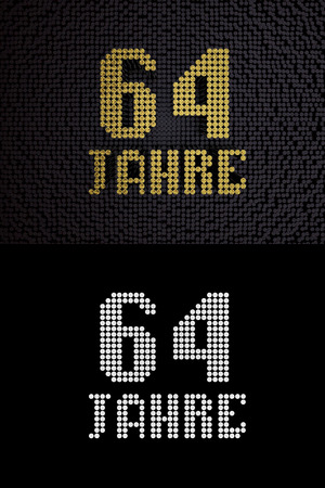 German golden number sixty-four years (number 64 years) dotted font, top view, with dark zero and one background. With alpha channel. 3D illustration 스톡 콘텐츠