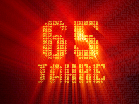 German golden number sixty-five years (number 65 years) dotted font, top view, with light rays. 3D illustration