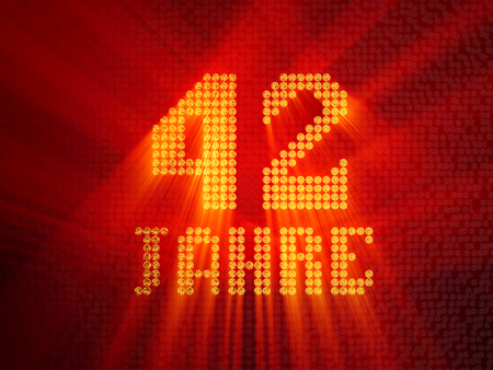 German golden number forty-two years (number 42 years) dotted font, top view, with light rays. 3D illustration