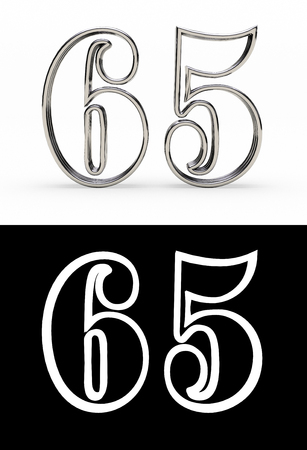 Silver number sixty-five years (number 65 years) with shadow, front view, with alpha channel. 3D illustration