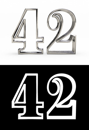 Silver number forty-two years (number 42 years) with shadow, front view, with alpha channel. 3D illustration