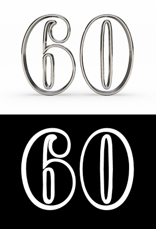 Silver number sixty years (number 60 years) with shadow, front view, with alpha channel. 3D illustration