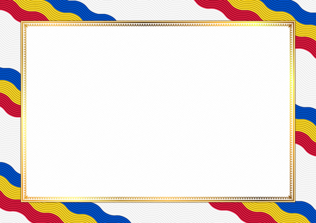 Border made with Moldova national colors. Template elements for your certificate and diploma. Horizontal orientation. Vector