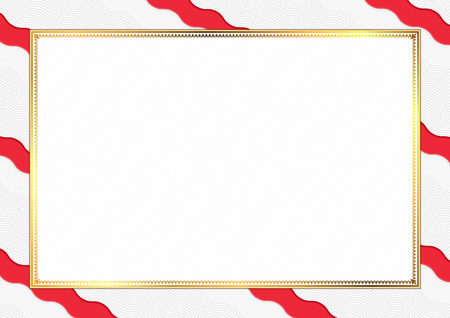 Border made with Singapore national colors. Template elements for your certificate and diploma. Horizontal orientation. Vector