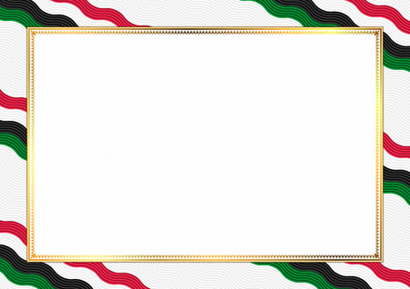 Border made with Sudan national colors. Template elements for your certificate and diploma. Horizontal orientation. Vector Vetores