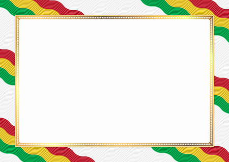 Border made with Guyana national colors. Template elements for your certificate and diploma. Horizontal orientation. Vector