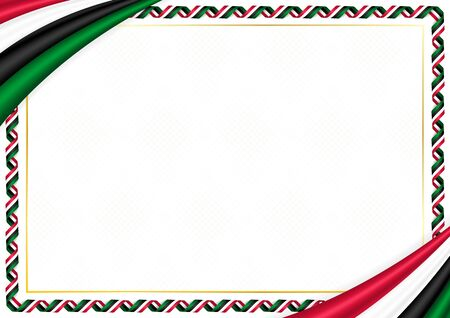 Border made with Sudan national colors. Template elements for your certificate and diploma. Horizontal orientation. Vector Vecteurs