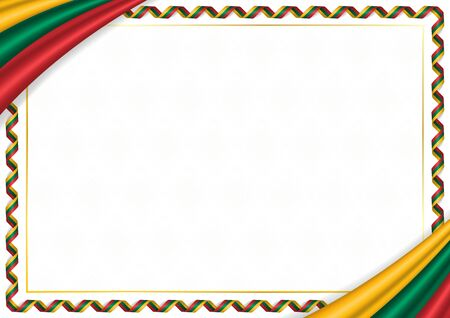 Border made with Lithuania national colors. Template elements for your certificate and diploma. Horizontal orientation. Vector