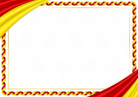 Border made with Macedonia national colors. Template elements for your certificate and diploma. Horizontal orientation. Vector