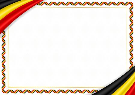 Border made with Uganda national colors. Template elements for your certificate and diploma. Horizontal orientation. Vector Ilustracja