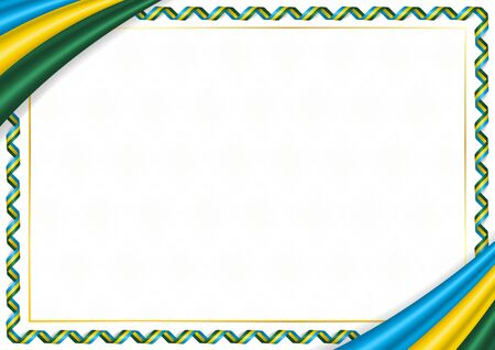 Border made with Rwanda national colors. Template elements for your certificate and diploma. Horizontal orientation. Vector