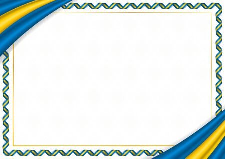 Border made with Sweden national colors. Template elements for your certificate and diploma. Horizontal orientation. Vector