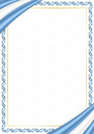 Border made with Argentina national colors. Template elements for your certificate and diploma. Horizontal orientation. Vector Ilustracja