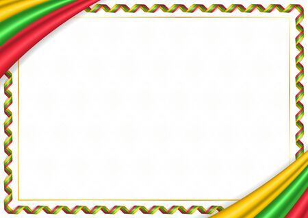 Border made with Myanmar national colors. Template elements for your certificate and diploma. Horizontal orientation. Vector