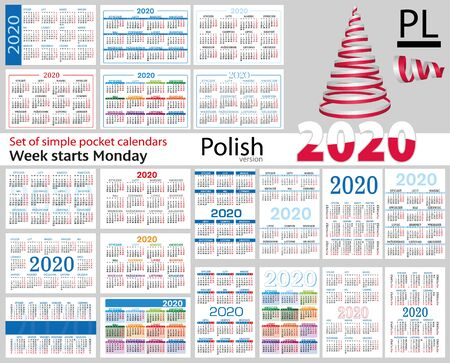 Polish set of pocket calendars for 2020 (Two thousand nineteen). Week starts Monday. New year. Color simple design. Vector Illustration