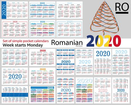 Romanian set of pocket calendars for 2020 (Two thousand nineteen). Week starts Monday. New year. Color simple design. Vector