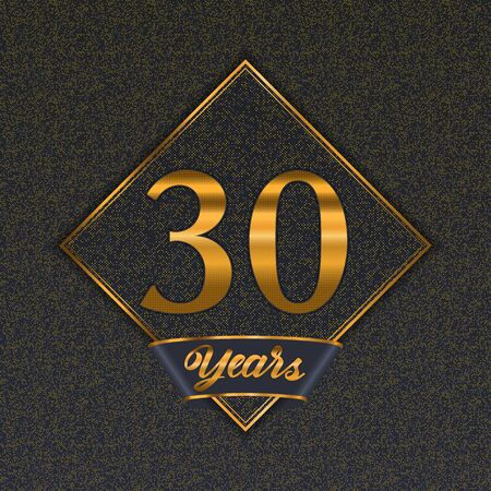 Golden number  thirty years (30 years) celebration design. Anniversary golden number with luxury background for your birthday party