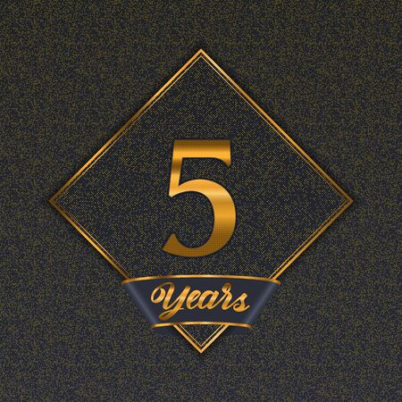 Golden number  five years (5 years) celebration design. Anniversary golden number with luxury background for your birthday party