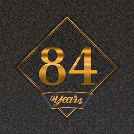 Golden number  eighty-four years (84 years) celebration design. Anniversary golden number with luxury background for your birthday party