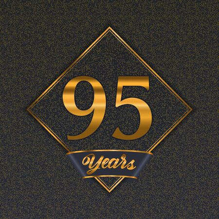 Golden number  ninety-five years (95 years) celebration design. Anniversary golden number with luxury background for your birthday party Illustration