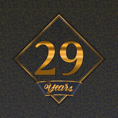 Golden number  twenty-nine years (29 years) celebration design. Anniversary golden number with luxury background for your birthday party