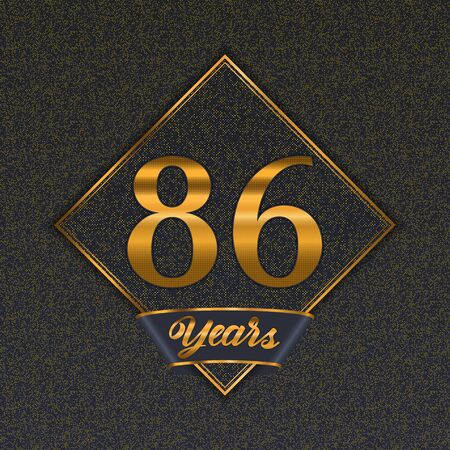 Golden number  eighty-six years (86 years) celebration design. Anniversary golden number with luxury background for your birthday party