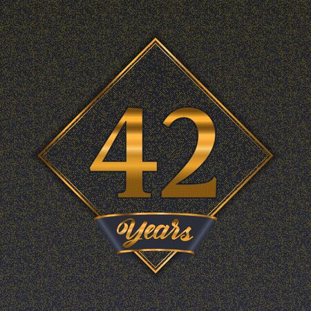 Golden number forty-two years (42 years) celebration design. Anniversary golden number with luxury background for your birthday party