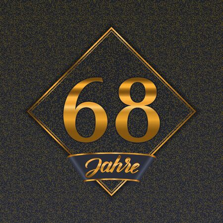 German golden number sixty-eight years (68 years) celebration design. Anniversary golden number with luxury backgrounds for your birthday party 일러스트