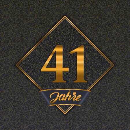 German golden number forty-one years (41 years) celebration design. Anniversary golden number with luxury backgrounds for your birthday party 向量圖像