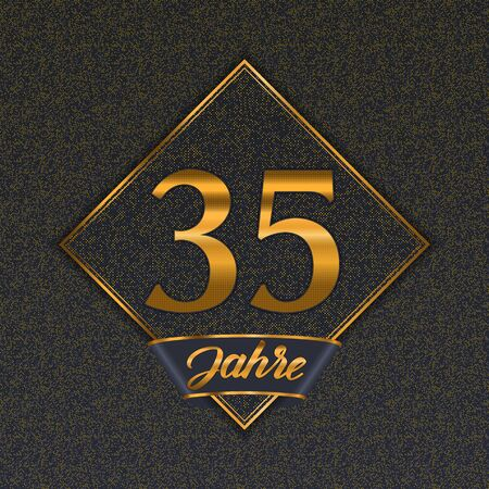 German golden number thirty-five years (35 years) celebration design. Anniversary golden number with luxury backgrounds for your birthday party 矢量图像