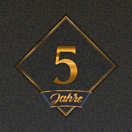 German golden number five years (5 years) celebration design. Anniversary golden number with luxury backgrounds for your birthday party