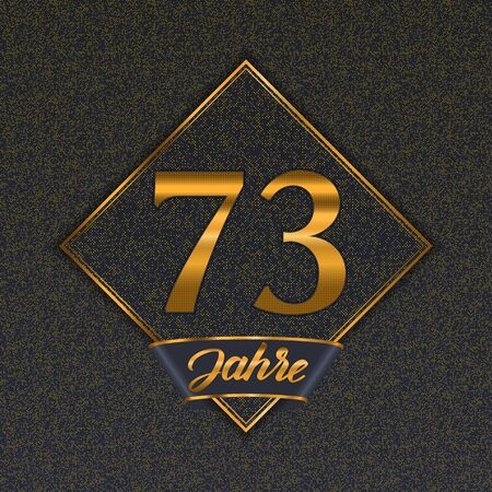 German golden number seventy-three years (73 years) celebration design. Anniversary golden number with luxury backgrounds for your birthday party Illustration
