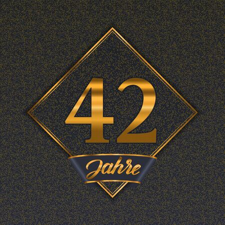 German golden number forty-two years (42 years) celebration design. Anniversary golden number with luxury backgrounds for your birthday party