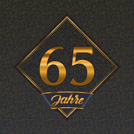German golden number sixty-five years (65 years) celebration design. Anniversary golden number with luxury backgrounds for your birthday party Illustration