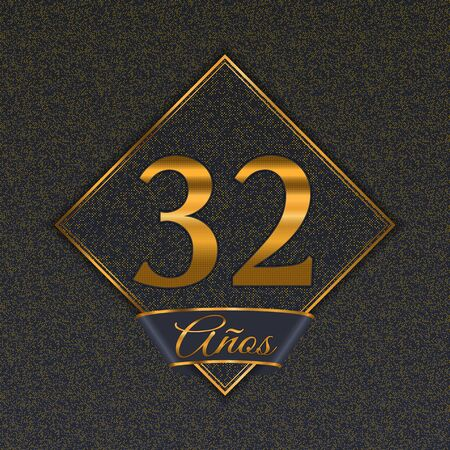 Spanish golden number thirty-two years (32 years) celebration design. Anniversary golden number with luxury backgrounds for your birthday party 矢量图像
