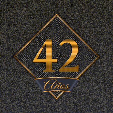 Spanish golden number forty-two years (42 years) celebration design. Anniversary golden number with luxury backgrounds for your birthday party