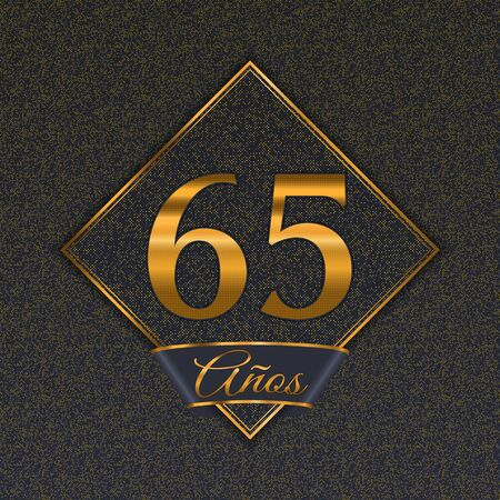 Spanish golden number sixty-five years (65 years) celebration design. Anniversary golden number with luxury backgrounds for your birthday party Illustration