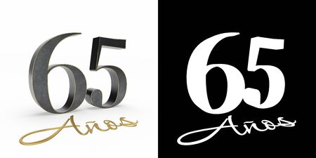 Inscription in Spanish. golden number sixty-five years (number 65 years) and the inscription years with drop shadow and alpha channel. Translated from the Spanish - years. 3D illustration Stock Photo